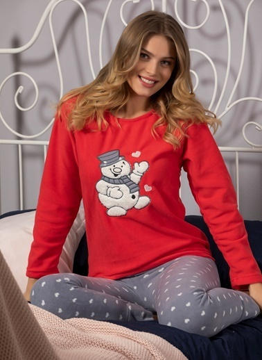 Strawberry Welsoft Nakışlı Ultrasoft Polar Pijama Takımı Kırmızı